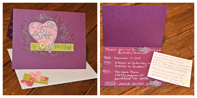 She saw some pink and purple heart invites on Pinterest. So I did pink and purple heart invities with glitter.