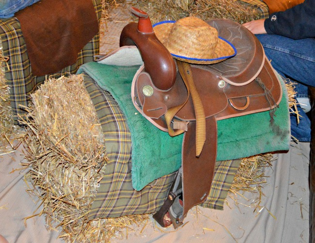 """Straw bale """"movie theater"""" seating for a #cowboy #western themed birthday party at Walking in High Cotton"""
