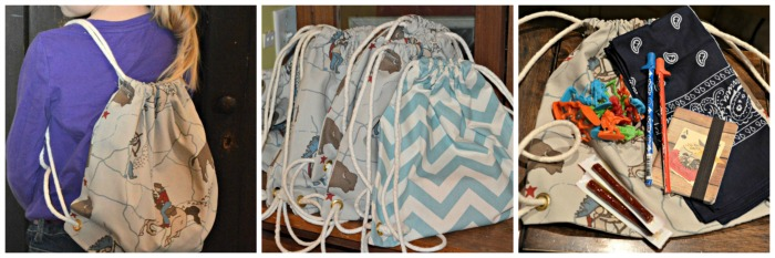fabric goodie bags for #cowboy #western themed birthday party at Walking in High Cotton