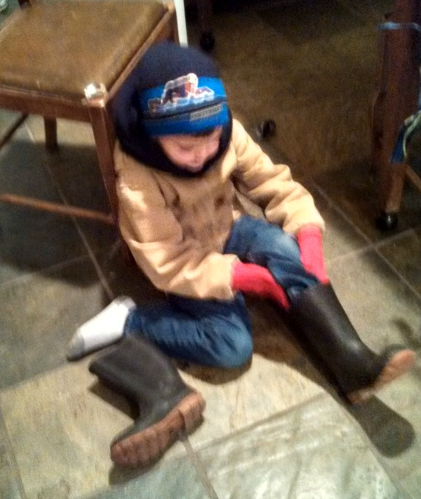 Speedracer gearing up for evening chores the other day.