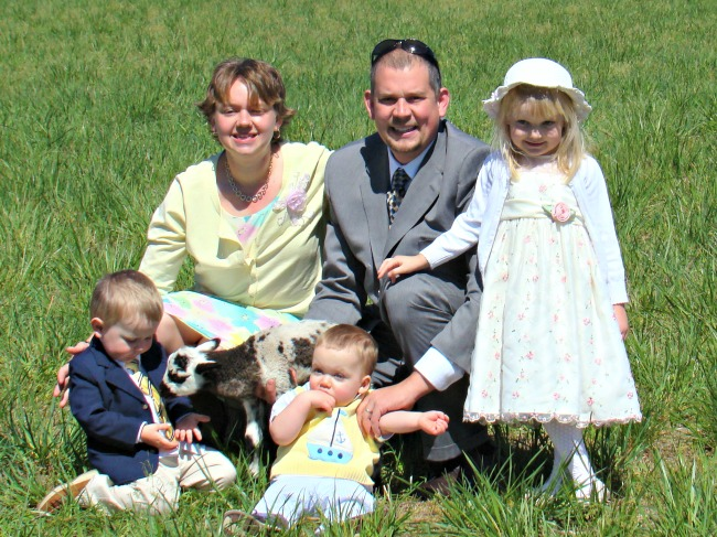 And this is the whole family with one of our Easter bottle lambs several years ago.