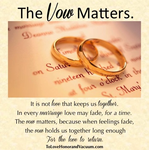 Here's one of my favorite marriage blogs and a great article on the marriage vow. {To Love, Honor, and Vaccuum}