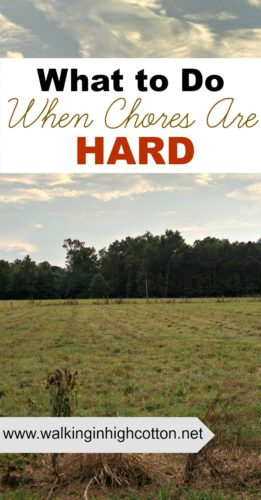 How to handle it when chores are HARD. Be calm, be consistent, be available. {from Walking in High Cotton}