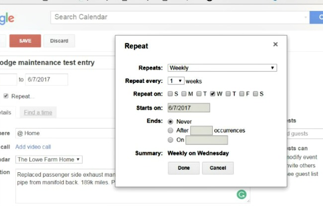 google calendar for farm records