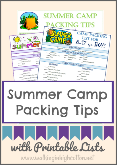 Packing tips for Summer Camp with 8-12 year old. One-two week overnight camp and church camp. Make it easy for the kids to help with the packing! via Walking in High Cotton