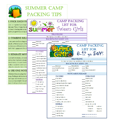 summer camp packing checklist FREE download