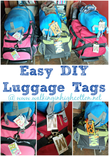 Easy DIY Luggage Tags from chipboard and scrapbook paper via Walking in High Cotton