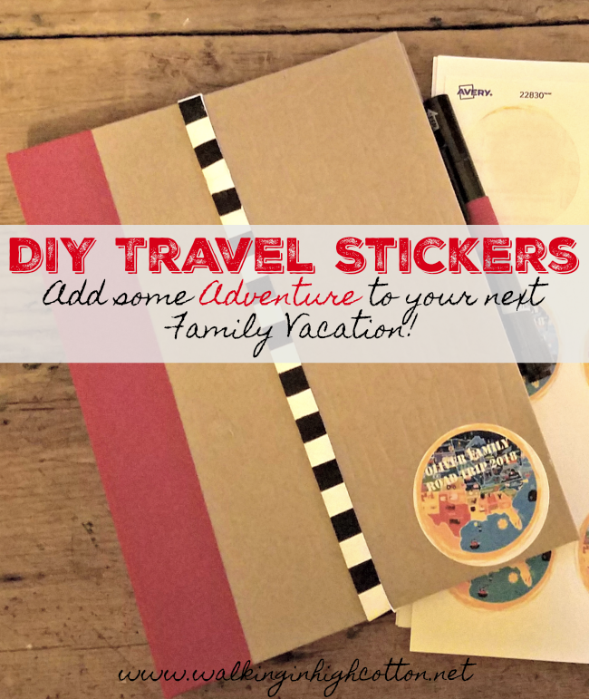 DIY Travel Stickers via Walking in High Cotton. Design, print, slap them on your gear and GO! Easy, thrifty, fun.