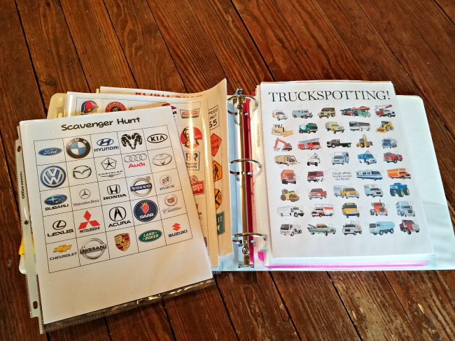 Road Trip Travel Cases for Kids via Walking in High Cotton, master-binder of fun road trip games to give out as we go along!