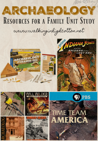 Resources for a fun summer unit study for the whole family about Archaeology, including movies, books, and activities...via Walking in High Cotton