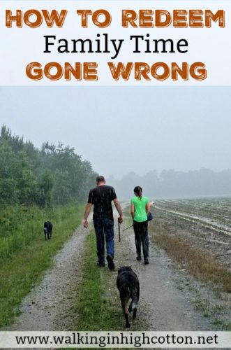 Toddler meltdowns, car break downs, weather disasters...How can you redeem the time when you've made big plans and family time goes wrong? Use these tips! via Walking in High Cotton