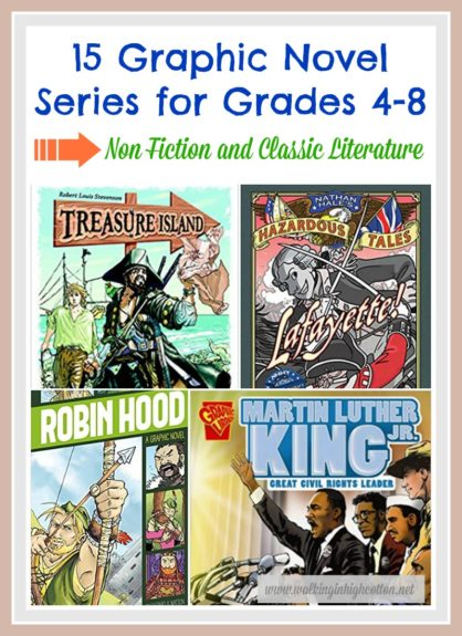 Here's 15 graphic novel series that boys and girls Grades 4-8 will enjoy diving into--history, biographies, classic literature adaptions...all great for reluctant readers and hard-to-engage middle grade readers. via Walking in High Cotton