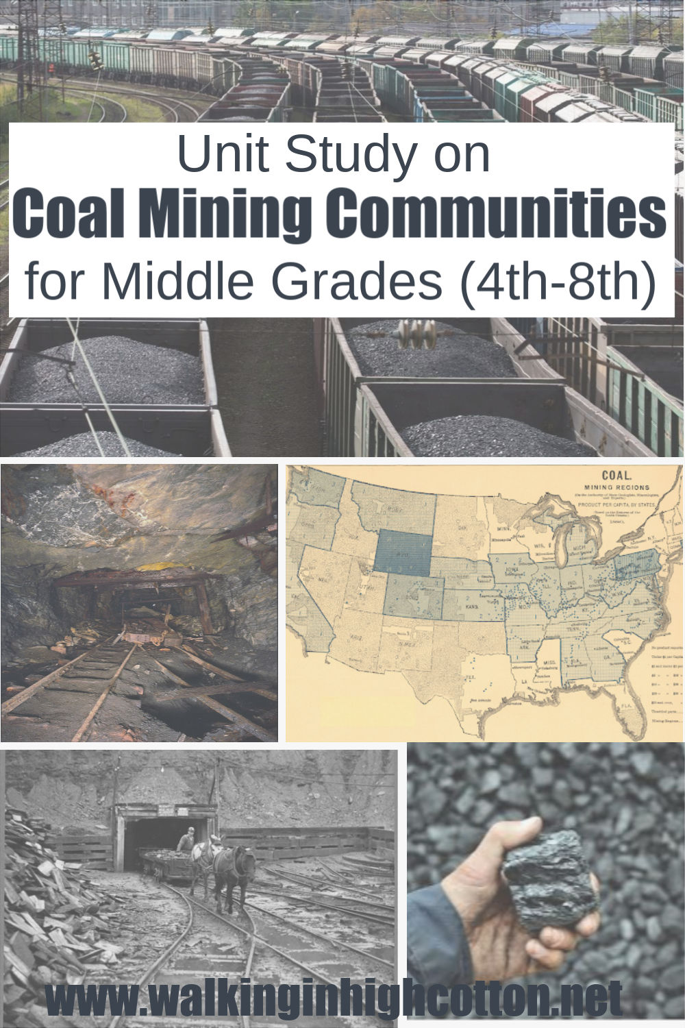 Resources for a Unit Study on coal mining communities, including FREE Amazon and YouTube video list, website links, book lists, and templates for student projects and reports. Perfect for grades 4-8, but could easily be aged up or down to suit a general family unit study as well. via Walking in High Cotton