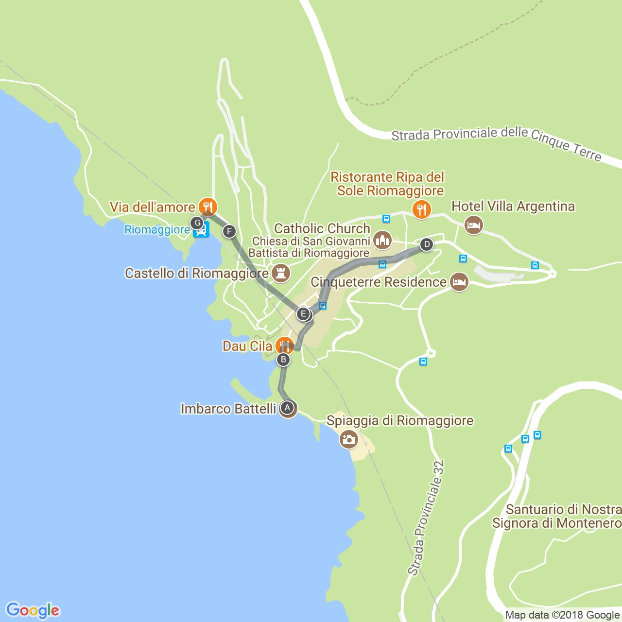 Riomaggiore Italy Map.Routes