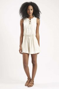 Lace-Up Embroidered Playsuit
