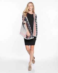 Aztec Poncho - Grey and Navy Zig Zag