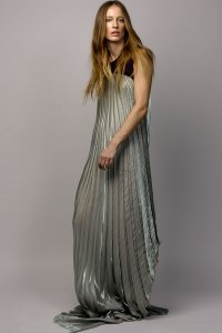 Pleated Iridescent Dress with Detachable Cashmere Vest