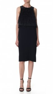 Stretch Faille Feather Layered Dress