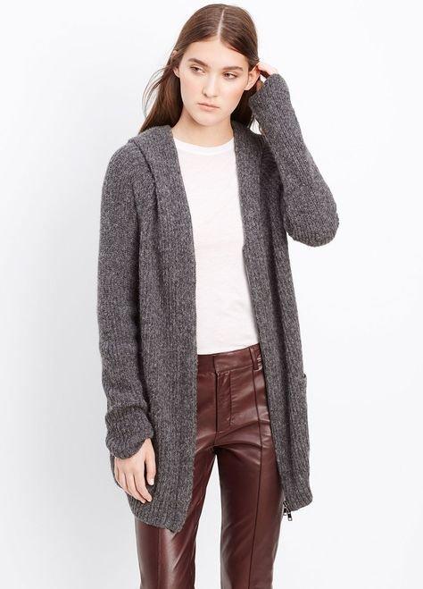 Hooded Shawl Collar Zip-Up Cardigan