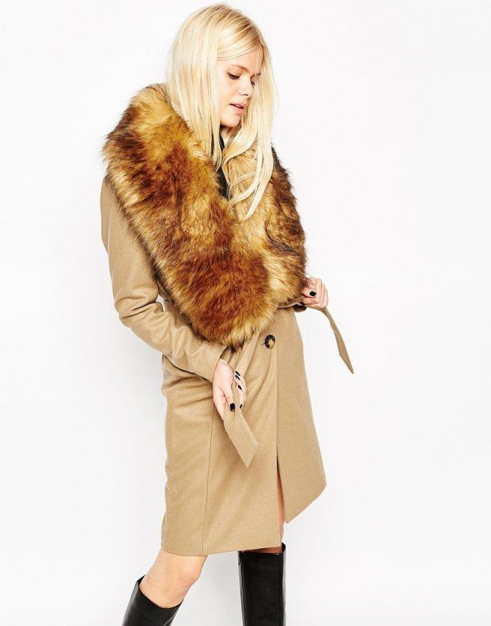 Coat with Faux Fur Stole