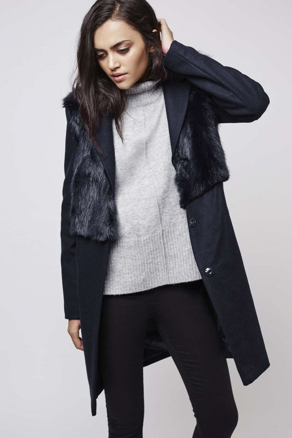 Wool Blend Faux Fur Hybrid Coat