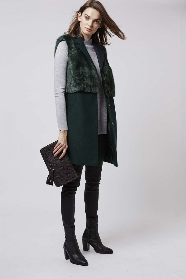 Sleeveless Faux Fur Hybrid Coat