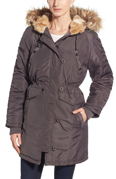 Three Quarter Length Satin Parka with Faux Fur Trim