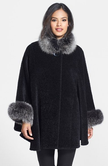 Genuine Fox Fur Trim Wool Blend Cape