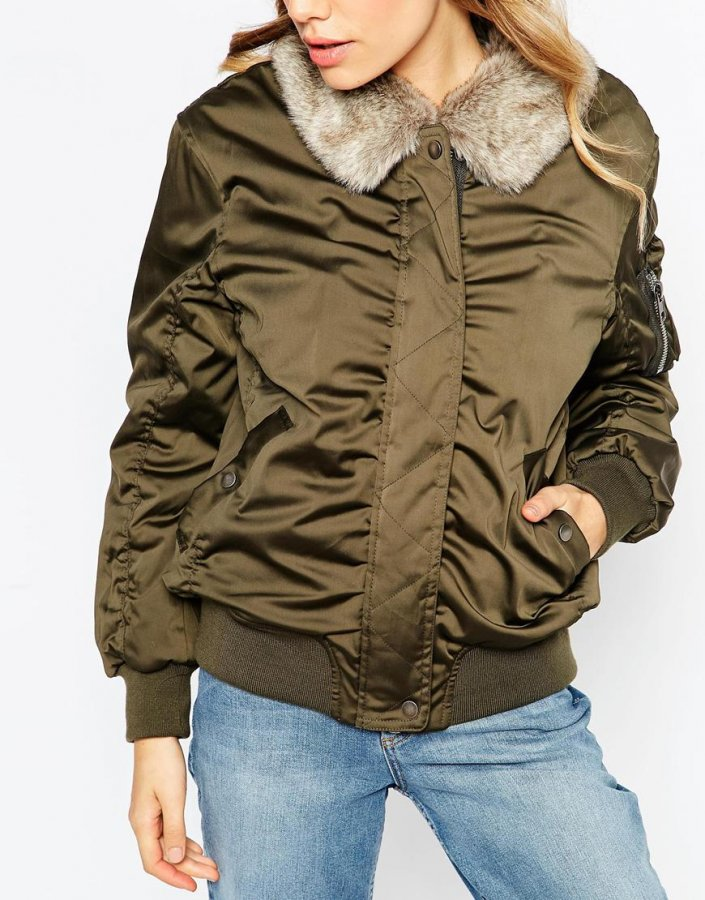 Bomber Jacket with Faux Fur Collar