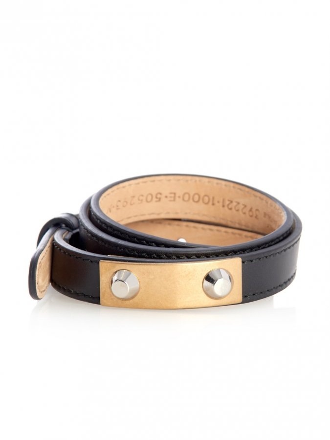 Stud wraparound leather bracelet