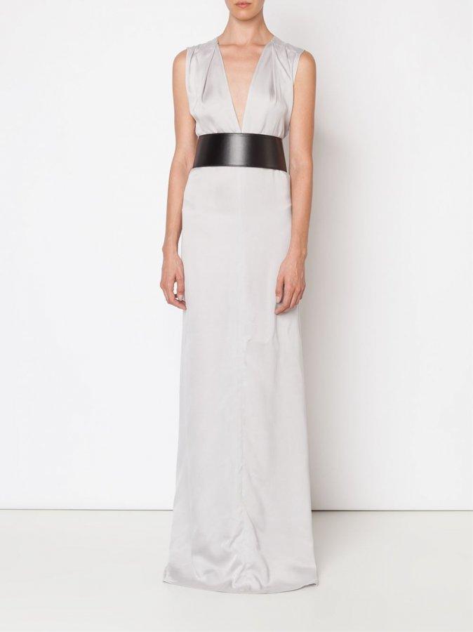 Plunge Neck Evening Dress