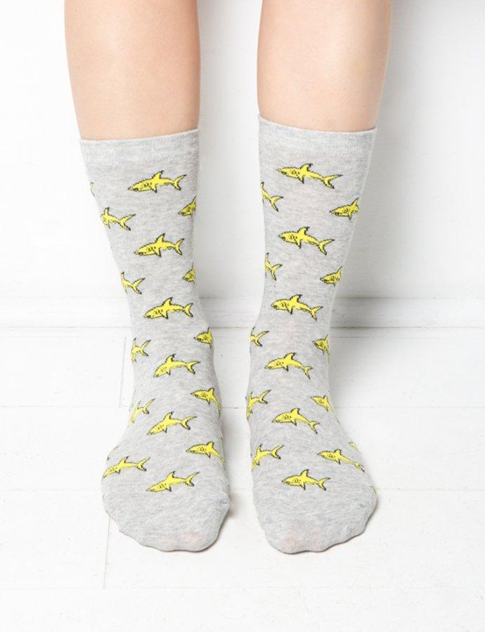 Grey Shark Print Socks