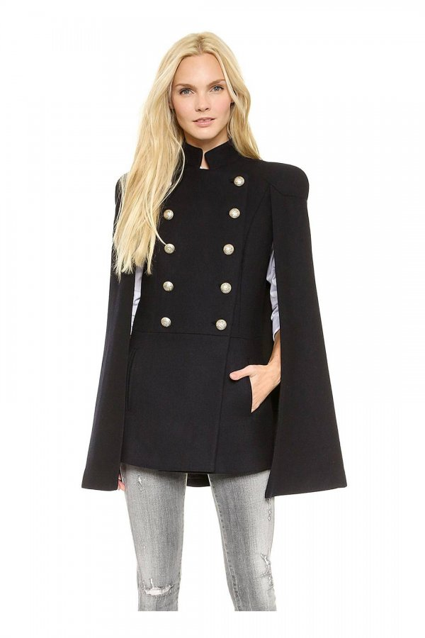 Stand Collar Cape Coat