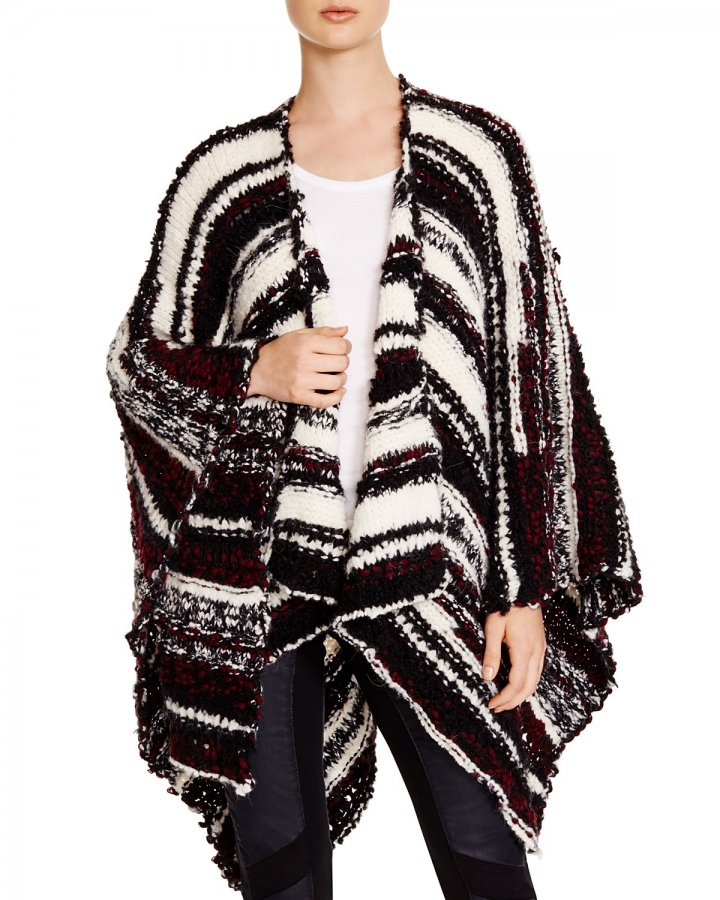 Maille Striped Open Poncho