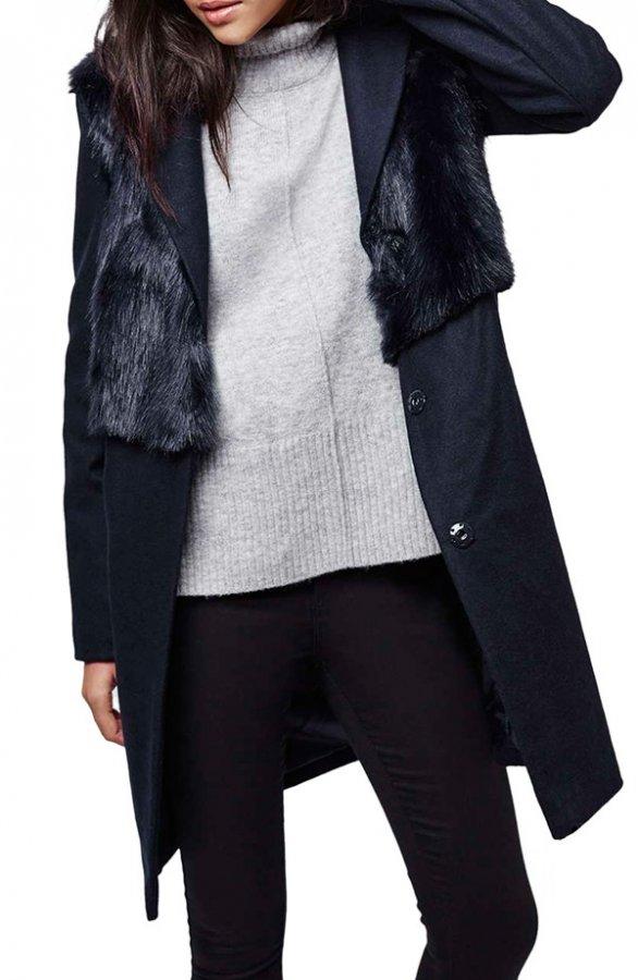 Longline Coat with Faux Fur