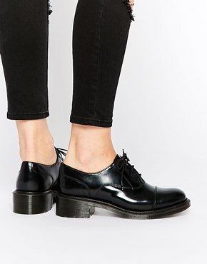 Adelaide Henrietta Black Oxford Mid Heel Shoes
