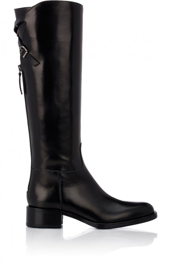 Crisscross Buckle-Strap Knee Boots