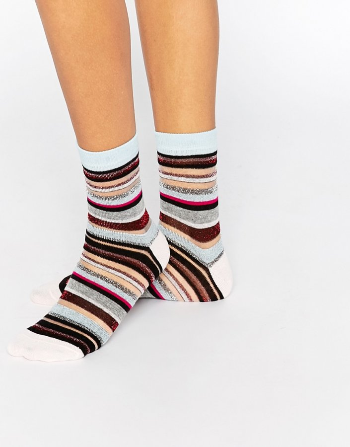 Sheer Multi Coloured Stripe Glitter Socks
