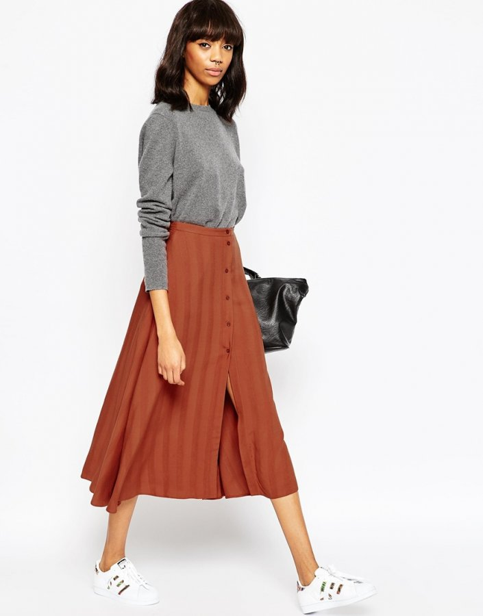 Midi Skirt with Button Through in Self Stripe