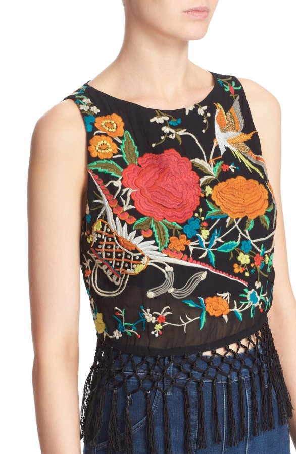 \'Clarice\' Tassel Trim Embroidered Tank