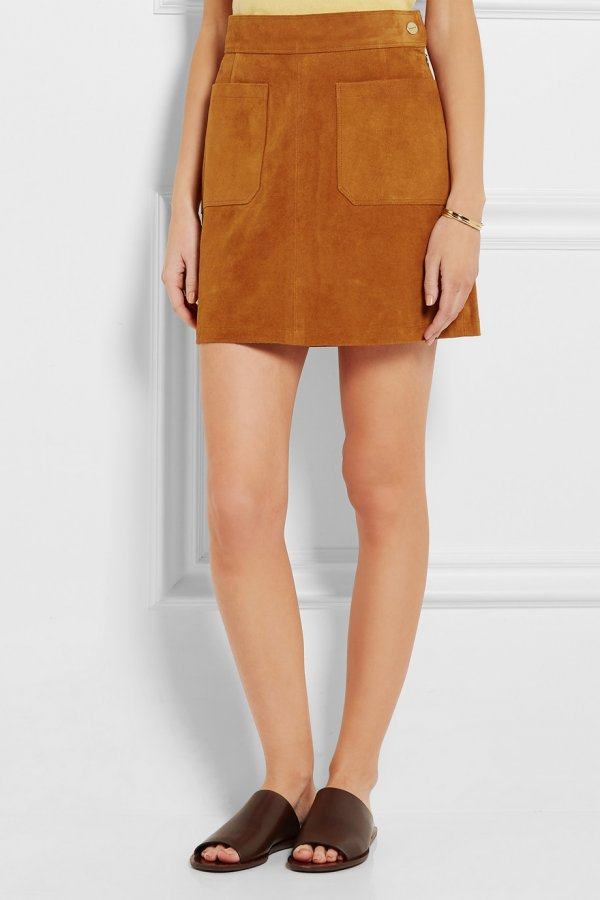\'Le High\' A-Line Suede Skirt