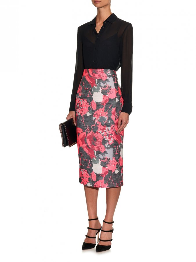 Floral-jacquard pencil skirt