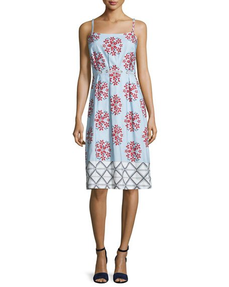 Sleeveless Floral Faille Shift Dress
