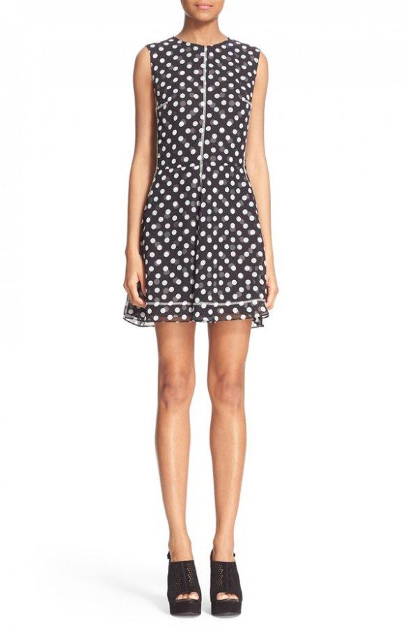 Overlock Polka Dot Print Dress