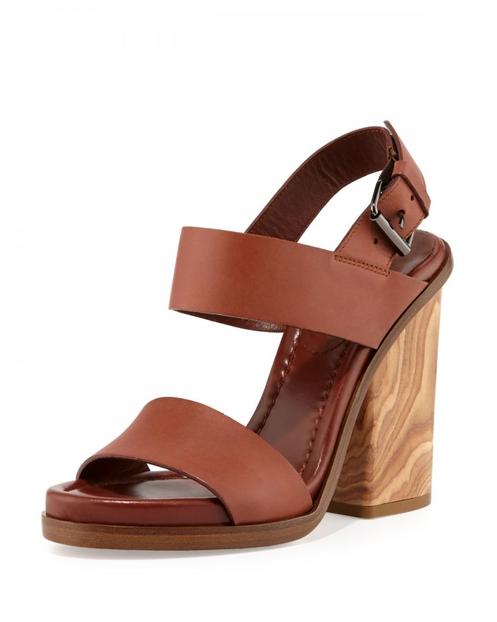 Haley Leather Two-Band Wooden Sandal