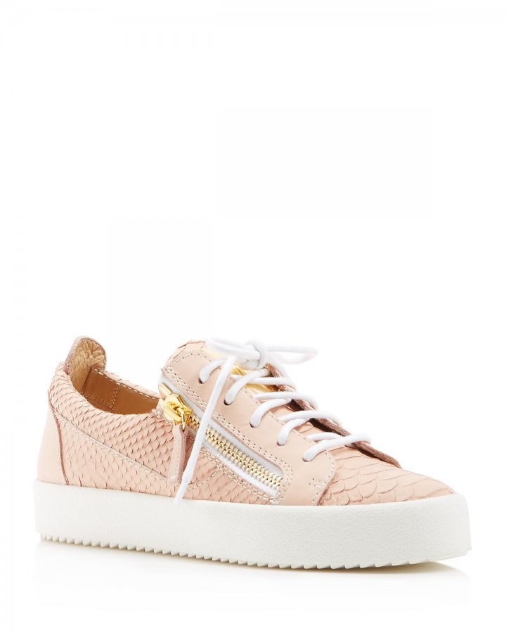 Maylondon Snake-Embossed Lace Up Sneakers