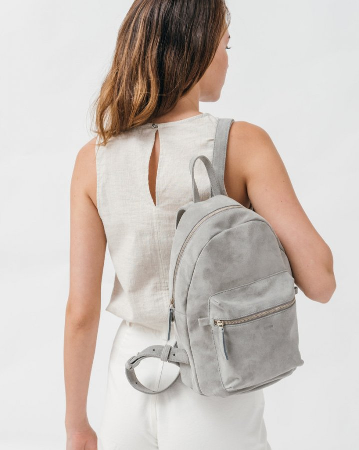Leather Backpack - Grey Suede