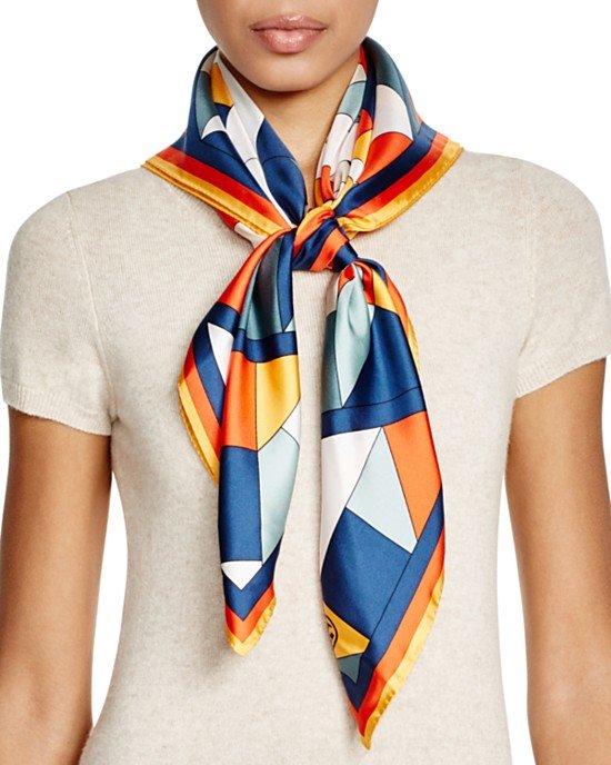 Fret-Print Square Silk Scarf