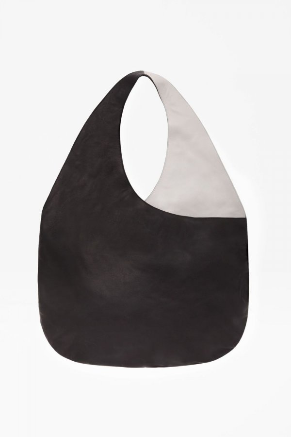 Round leather shopper