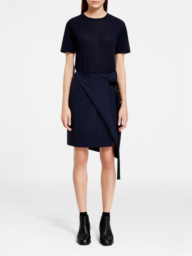 Asymmetric Pinstripe Skirt